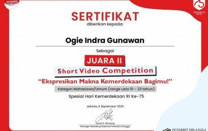 Ogie Indra Gunawan Mahasiswa Fakultas Sains Dan Teknologi, Juarai Lomba Pembuatan Short Video Competition